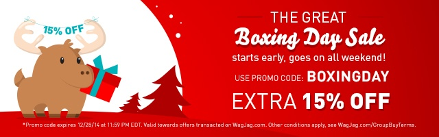 Get 15 percent off. Use promo code: BOXINGDAY